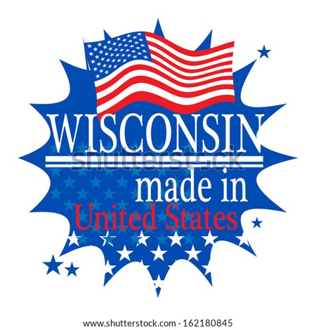 Label with flag and text Made in Wisconsin, vector illustration - stock vector