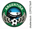 Label with football and name Argentina, vector illustration - stock vector