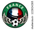 Label with football and name France, vector illustration - stock vector