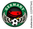 Label with football and name Germany, vector illustration - stock vector