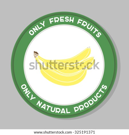 Label with hand drawn fruit on the gray background. Vector illustration.  - stock vector