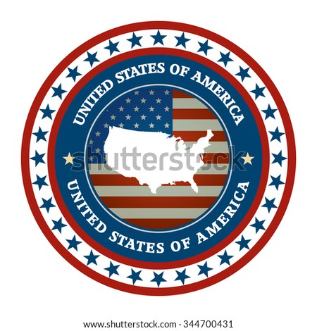 label with map of USA, vector - stock vector