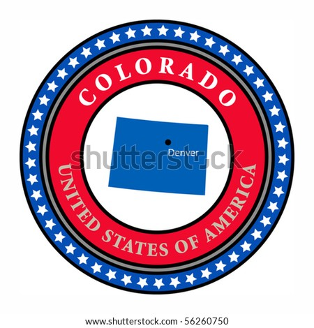 Label with name and map of Colorado, vector illustration