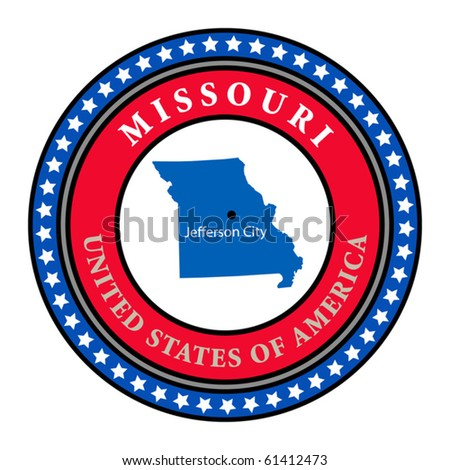 Label with name and map of Missouri, vector illustration