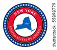 Label with name and map of New York, vector illustration - stock vector