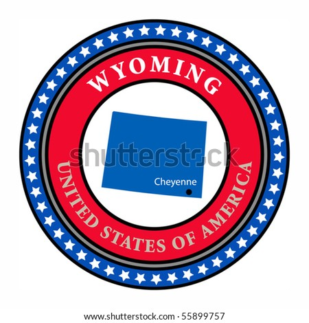 Label with name and map of Wyoming, vector illustration