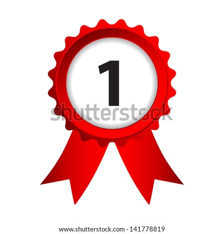 label with red ribbons and numbers - stock vector