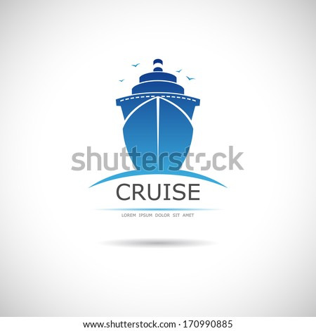 Label with sea cruise liner. Vector. - stock vector