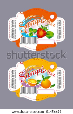 Label with strawberry and orange - stock vector