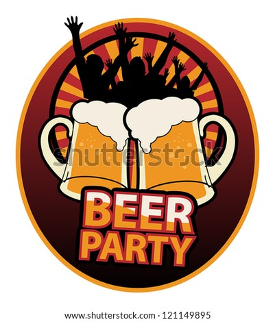 Label with the Beer Mugs and text Beer Party written inside, vector illustration - stock vector