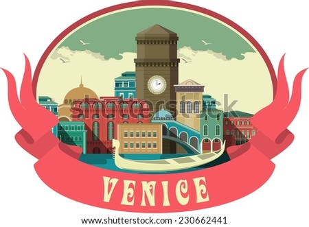 Label with the city of Venice in an oval shape with flags - stock vector