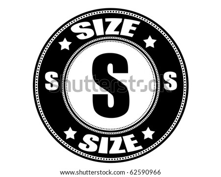 Label with the clothing size S written inside, vector illustration