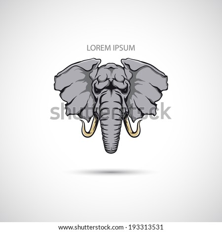 Label with the elephant head. Vector. - stock vector