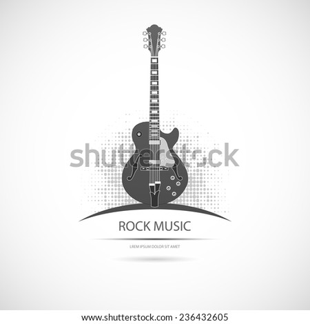 Label with the guitar. Vector icon. - stock vector