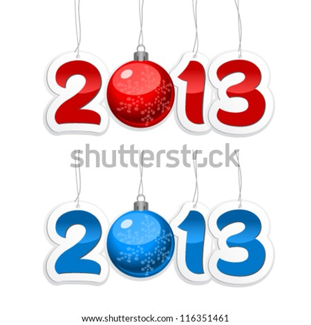 Label with the numbers 2012 and 2013 with New Year's ball on a white background