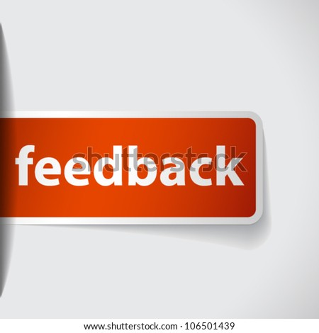 Label with word feedback inserting to slot - stock vector