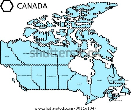 labeled vector map of canada with states lines generalized to fit regular hexagonal grid pattern