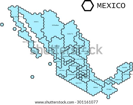 labeled vector map of mexico with states lines generalized to fit regular hexagonal grid pattern
