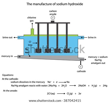 Labelled diagram of the industrial manufacture of sodium hydroxide in the flowing mercury cell - stock vector
