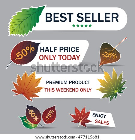 Labels and Stickers for your autumn sales. Vector illustration on the background of autumn leaves. Concept autumn advertising.Bright fall leaves. Poster, card, label, banner design set. Autumn sales.