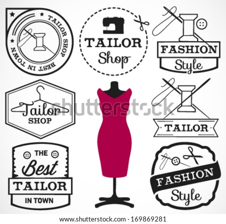 Labels, Badges and Signs for Tailor Shop in Retro Style - stock vector