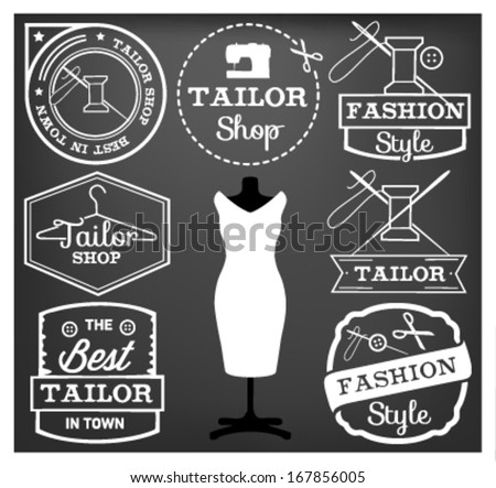 Labels, Badges and Signs for Tailor Shop in Vintage Style - stock vector