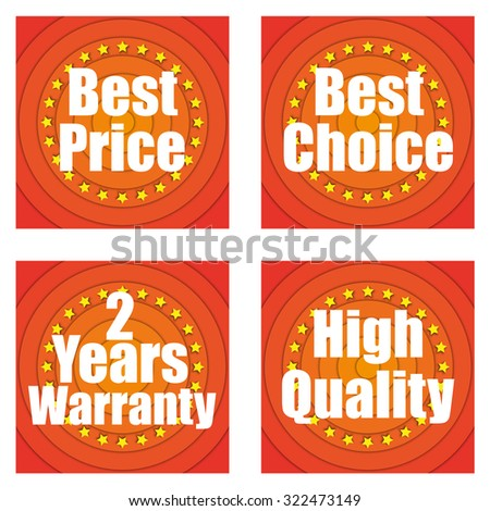Labels. Best price. Best choice. Warranty. High Quality.
