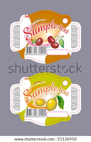 Labels cherry and lemon - stock vector