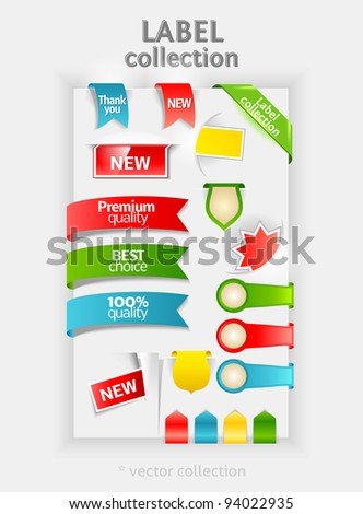 Labels collection. Vector sticker for text. Ribbon, banner and bookmarks. Design symbols. Premium Quality and Best Choice labels. - stock vector