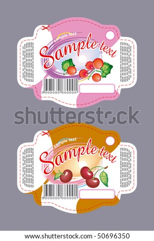 Labels design for cookies with berries - stock vector