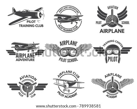 Labels design template with pictures of airplanes. Aircraft emblem, pilot school and aviation transportation training, vector illustration