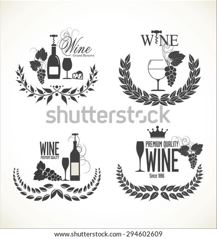 labels for wine with grapes - stock vector
