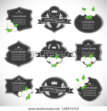 Labels In Retro And Vintage Style With Flowers - Isolated On Background. Vector Illustration, Graphic Design.Lot Of Elements Useful For Design. Logo Symbols  - stock vector