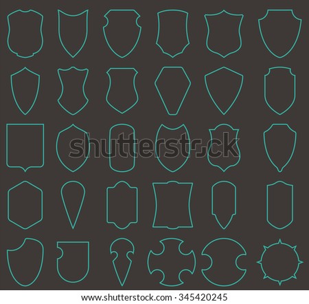 Labels in the form of shield. Vector set of contours. Frame for text or symbols. Linear heraldic emblem. Symbol of protection and security. - stock vector