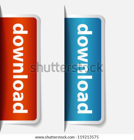 Labels inserting to slot - stock vector