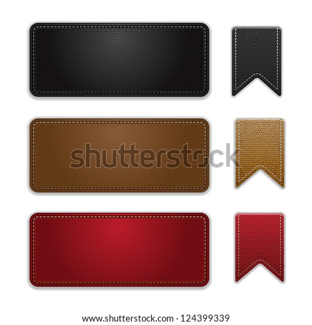 labels leather vector - stock vector