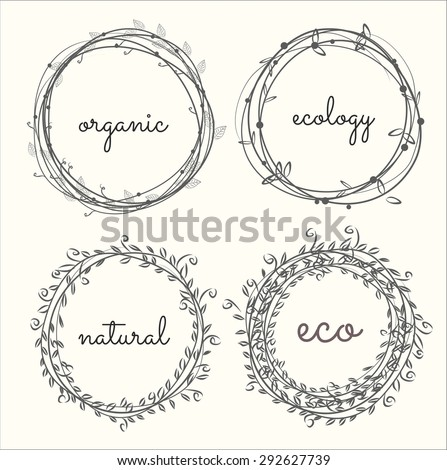labels, leaves,plants elements,wreaths ,laurels. Organic,bio,ecology,eco natural design template. Hand drawing painting. - stock vector