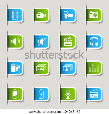 Labels - Media Icons - stock vector