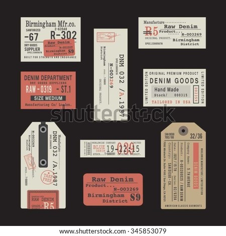 Labels of denim typography, t-shirt graphics, vectors, collection,  - stock vector