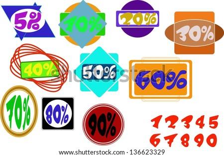 Labels of discounts - stock vector