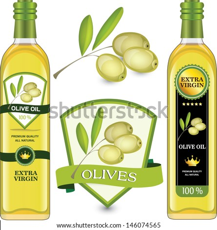 Labels olive oil - stock vector