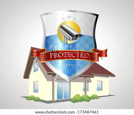 Labels - protection shield with house - stock vector