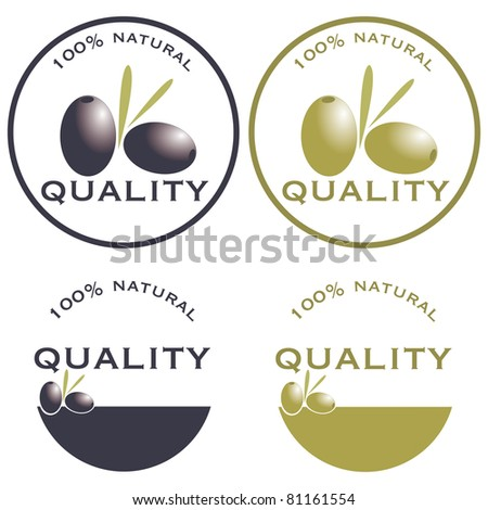 Labels quality olive - stock vector