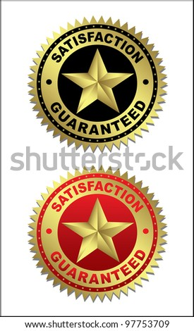 Labels - Satisfaction and guaranteed. Vector - stock vector
