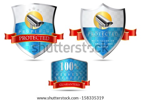 Labels - Security camera, property protected, highest security - stock vector