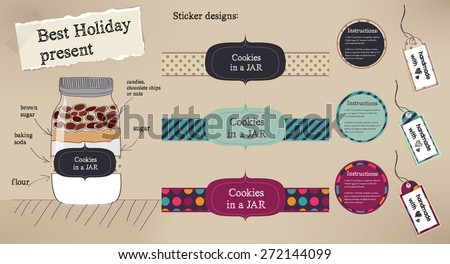 Labels set of Holiday Present Cookies in a Jar in chocolate colors - stock vector