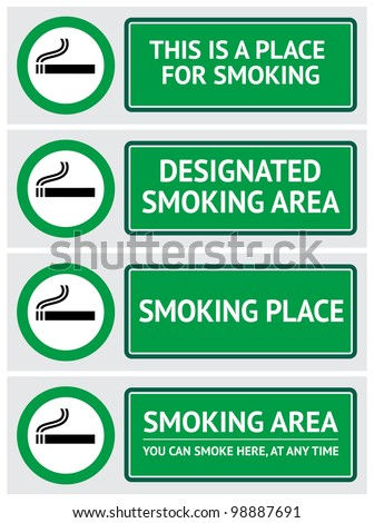 Labels set smoking place stickers - stock vector