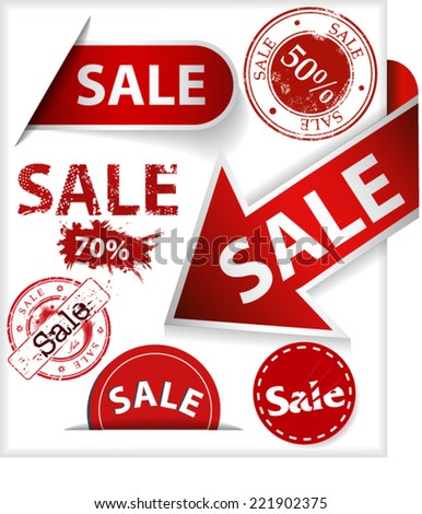 Labels, stickers and stamps with word sale - stock vector