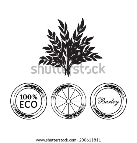 Labels, stickers, tags with ears of wheat (rye, barley). Vector illustration. - stock vector