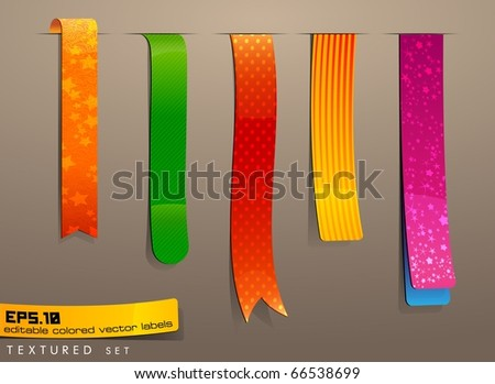 Labels textured | editable bookmark set - stock vector